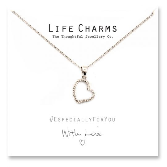 480502 - Life Charms - YY02 - Necklace Silver CZ Open Heart