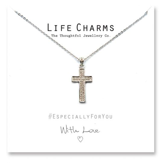 480503 - Life Charms - YY03 - Necklace Silver CZ Pave Cross