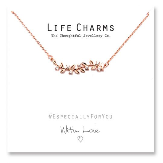 480504 - Life Charms - YY04 - Necklace Rose Gold Leaves