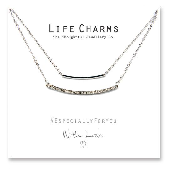 480509 - Life Charms - YY09 - Necklace 2 Layer Crystal Bar