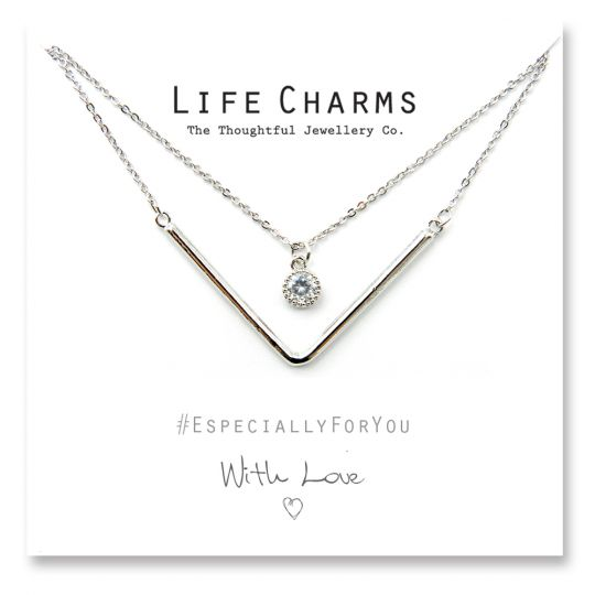 480510 - Life Charms - YY10 - Necklace 2 Layer Silver Chevron and a Crystal