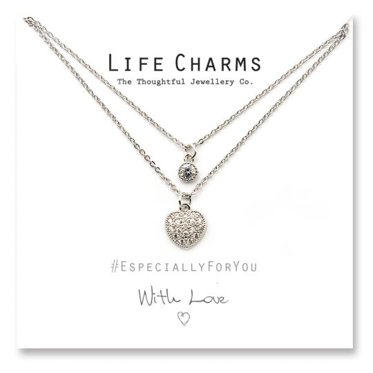 Life Charms - YY23 - Necklace Silver Crystal Heart
